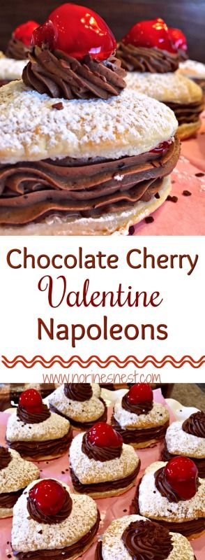 Flaky, Butter, Pastry Hearts filled with Rich Creamy Chocolate and Sweet Red Cherries. The Perfect Chocolate Cherry Napoleons! Truly Delectable!