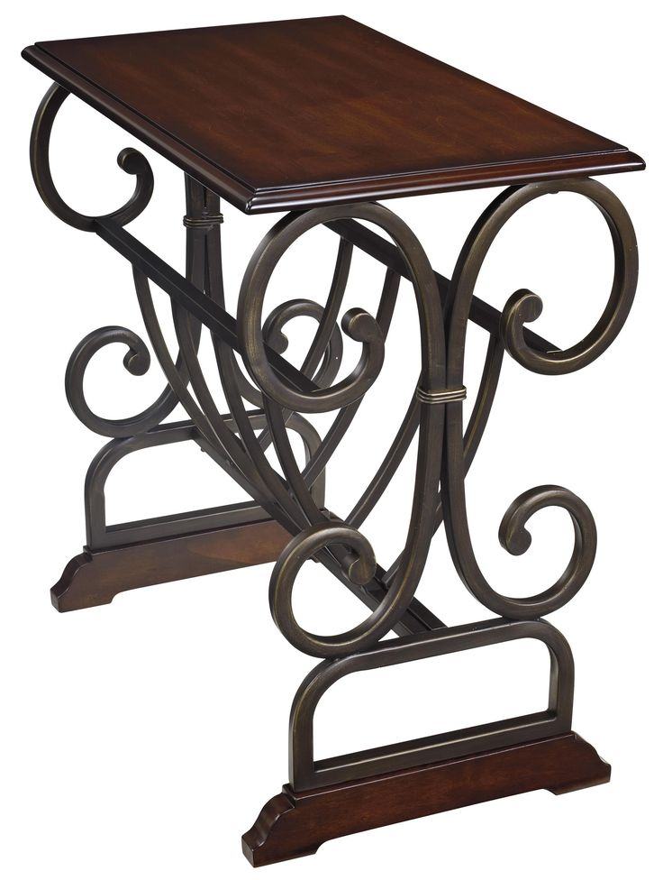 Signature Design by Ashley Braunsen Traditional Chair Side End Table with Scrolled Metal - Colder's Furniture and Appliance - End Table Milwaukee, West Allis, Oak Creek, Delafield, Grafton, and Waukesha, WI