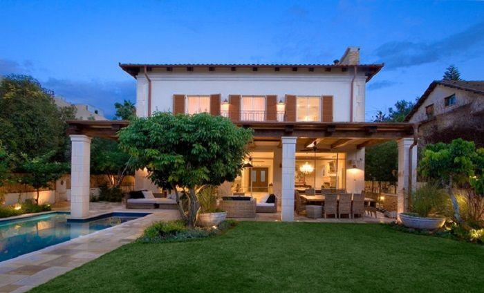 Contemporary Mediterranean Covered Patio Exterior Design