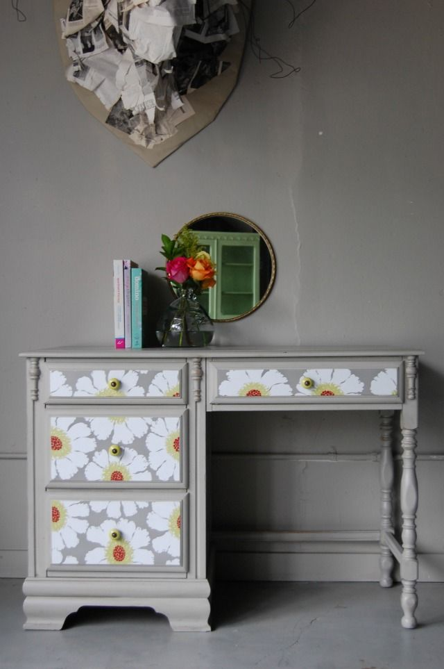 What a great idea, yard sale or craigslist find, repurpose with paint - so cute!  painted desk via 1288studio2