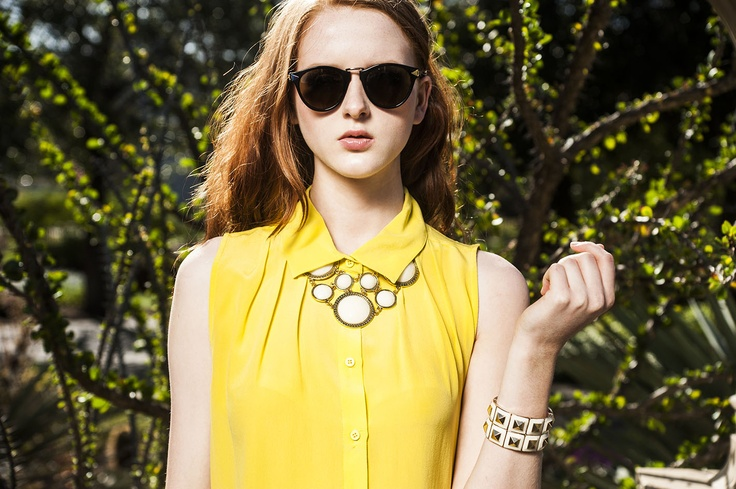 White hot necklace and bracelet with summer citrus