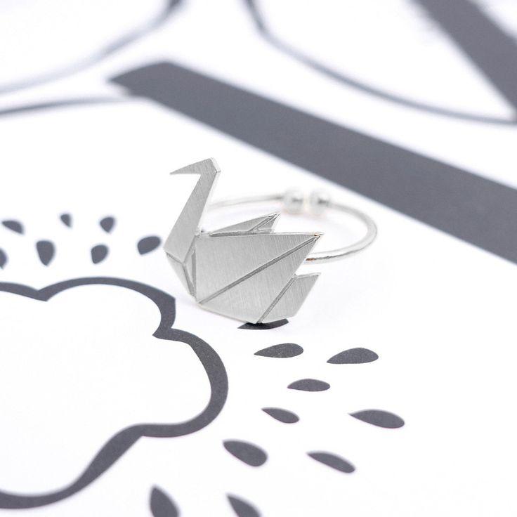 Oiseau Origami Silver Ring - Majolie   - 1