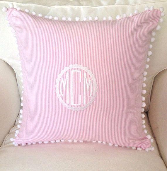 Seersucker or Scalloped Monogram Pom Pom Pillow by peppermintbee
