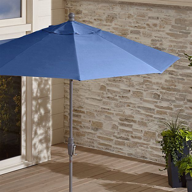 9' Round Sunbrella ® Mediterranean Blue Patio Umbrella with Tilt Silver Frame | Crate and Barrel