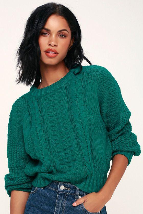 a63e40541e Whistler Jade Green Cable Knit Sweater