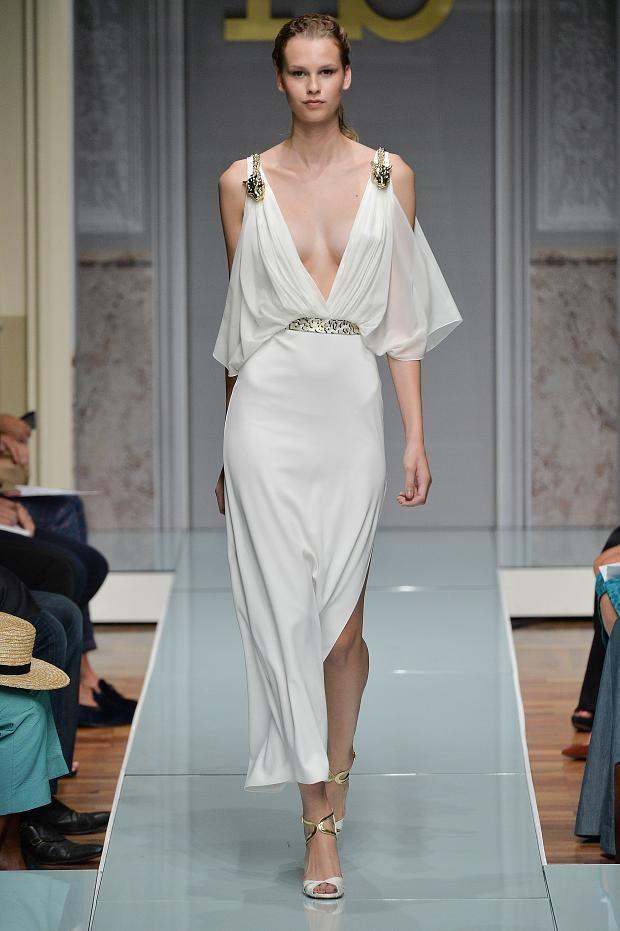 Roccobarocco Spring 2015 grecian goddess white dress