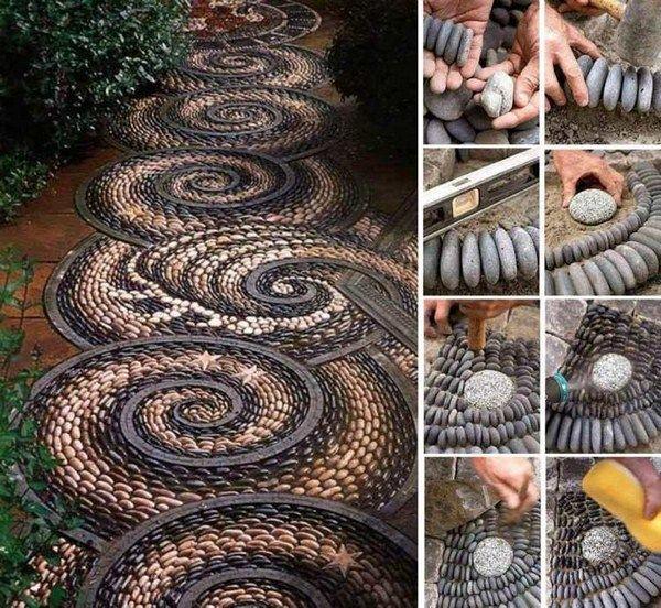 The pebble mosaic instructions make easy garden design