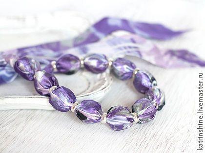 """Бусы из ткани фиолетовые """"Орхидея"""" - бусы из ткани,летние бусы,авторские украшения"""