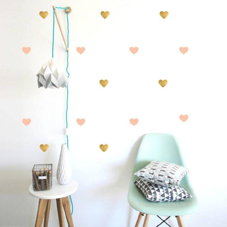 54 muurstickers hartjes goud roze