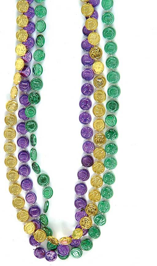 "mardi+gras+beads | Bulk 33"" Mardi Gras Coin Beads"