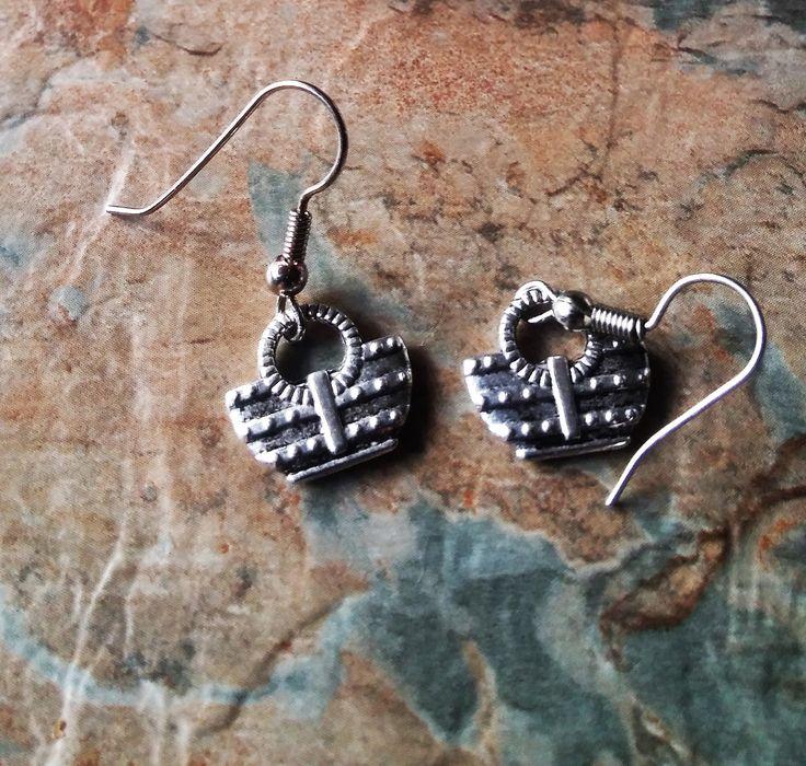 Handbag Earrings, Dangle Earrings, Ladies Fashion Earrings, Gift for Her, Birthday Gifts, Friends Gifts, Handmade Earrings,Bag Drop Earrings by SpryHandcrafted on Etsy