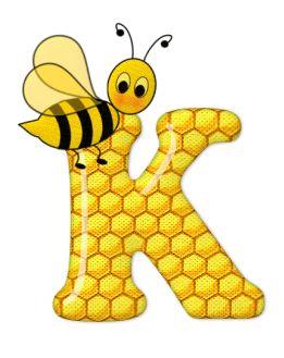Alfabeto de abeja sobre letras de panal. | Oh my Alfabetos!