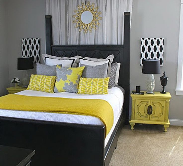 Teen S Bedroom With Feature Grey Wall And Monochrome Bed Linen: 17 Best Ideas About Gray Yellow Bedrooms On Pinterest