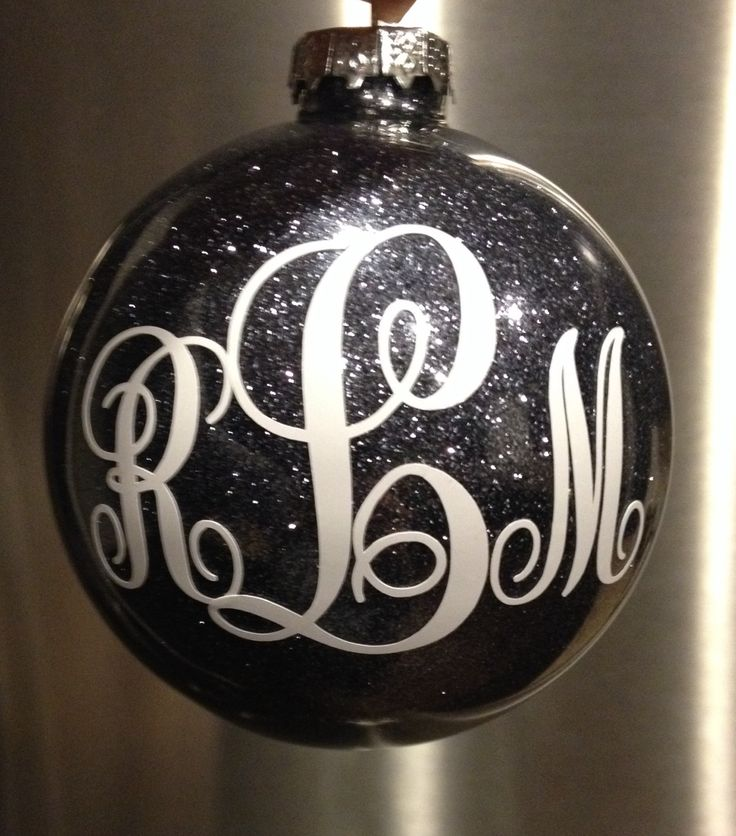 DIY glitter ornament with vinyl monogram made with my Cameo. I used the Pledge floor polish technique to glitter the inside- so easy! Still want to glam it up with some ribbon. :) #silhouettecameo #glitterornament #DIY