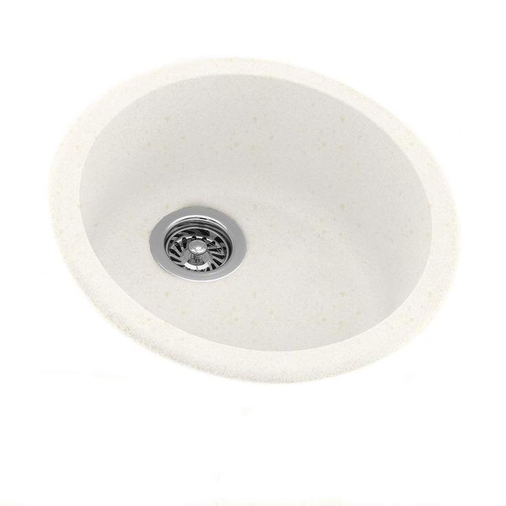 Undermount Engineered Stone 18.375 in. Single Basin Kitchen Sink in Baby's Breath