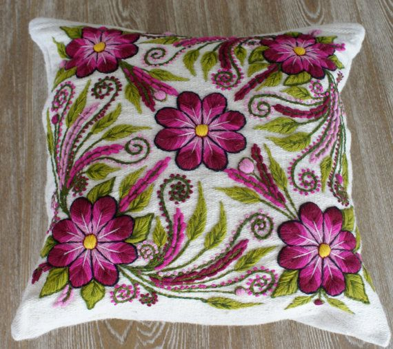 Off White Peruvian pillow embroidered cushion cover by khuskuy