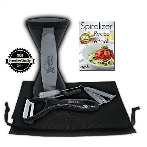 [Zoodly by gekkoZone] Premium 4-Blade Vegetable Spiral Slicer Bundle: 4 Blade Spiralizer with Free Recipe eBook, Ceramic Peeler and Pouch - Ultimate Zoodle Slicer - Veggie Spaghetti / Pasta Maker, http://www.amazon.com/dp/B017GGA4LA/ref=cm_sw_r_pi_awdm_eBz7wbNT9XMQZ