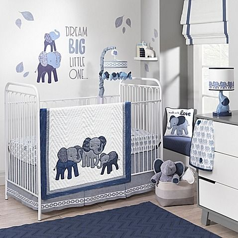 Nourish your little one's senses by embellishing his or her nursery with the Lambs & Ivy Elephant Crib Bedding Collection. This chambray-accented collection is adorned with sweet elephants and prints for an engaging scene.