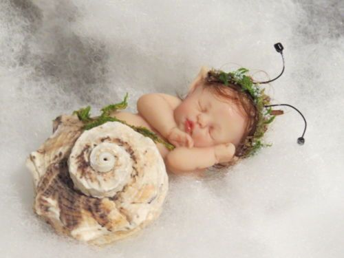 OOAK POLYMER CLAY BABY SNAIL In REAL SHELL! MINIATURE MERMAID FAIRY INTEREST!