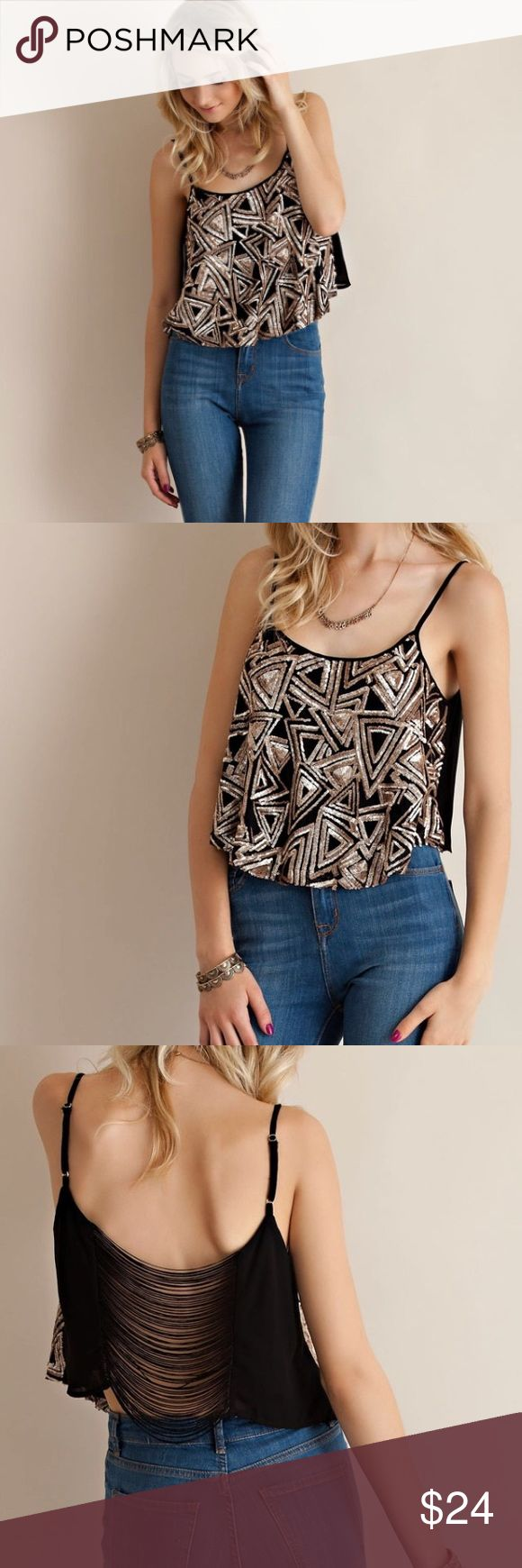 Geometric gold sequin top PreOrder A sequined crop top featuring fringes on back. Open back. Adjustable straps. Woven. Lightweight. 100% polyester, comes in small medium and large. Please note these aren't in stock yet, waiting on shipment. Comment size for hold. Price is firm unless bundled Tops Tank Tops