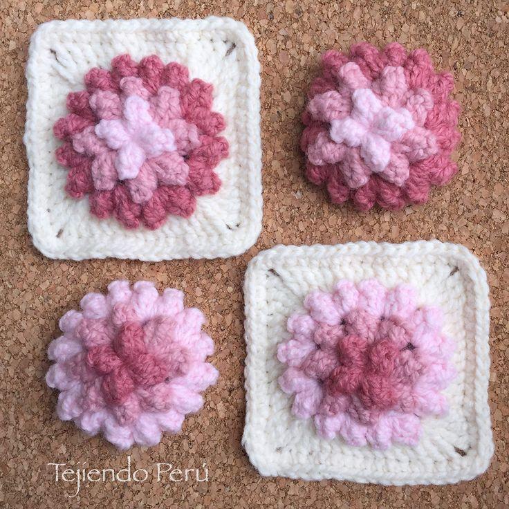 Crochet flores popcorn en 3d paso a paso crochet - Mantas de ganchillo paso a paso ...