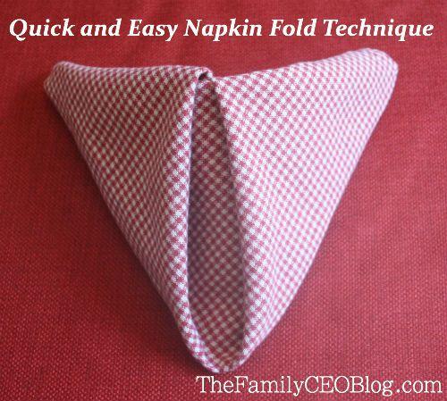 Easy napkin folding tutorial @ TheFamilyCEOBlog.com.