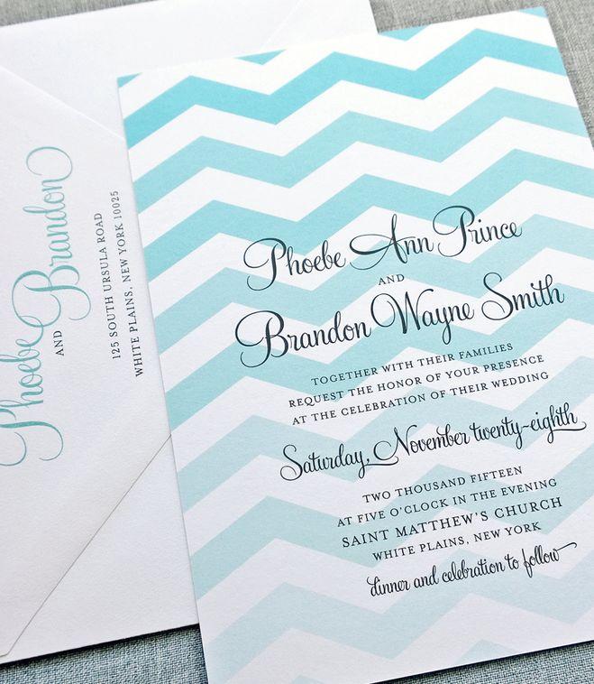 sample spanish wedding invitations%0A Phoebe Teal Chevron Wedding Invitation Sample  Modern Chevron Pattern  Custom Wedding Invitation