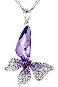 Stylized Butterfly Wing Drop Swarovski Elements Crystal Pendant Necklace (Purple)  http://electmejewellery.com/jewelry/necklaces/stylized-butterfly-wing-drop-swarovski-elements-crystal-pendant-necklace-purple-com/
