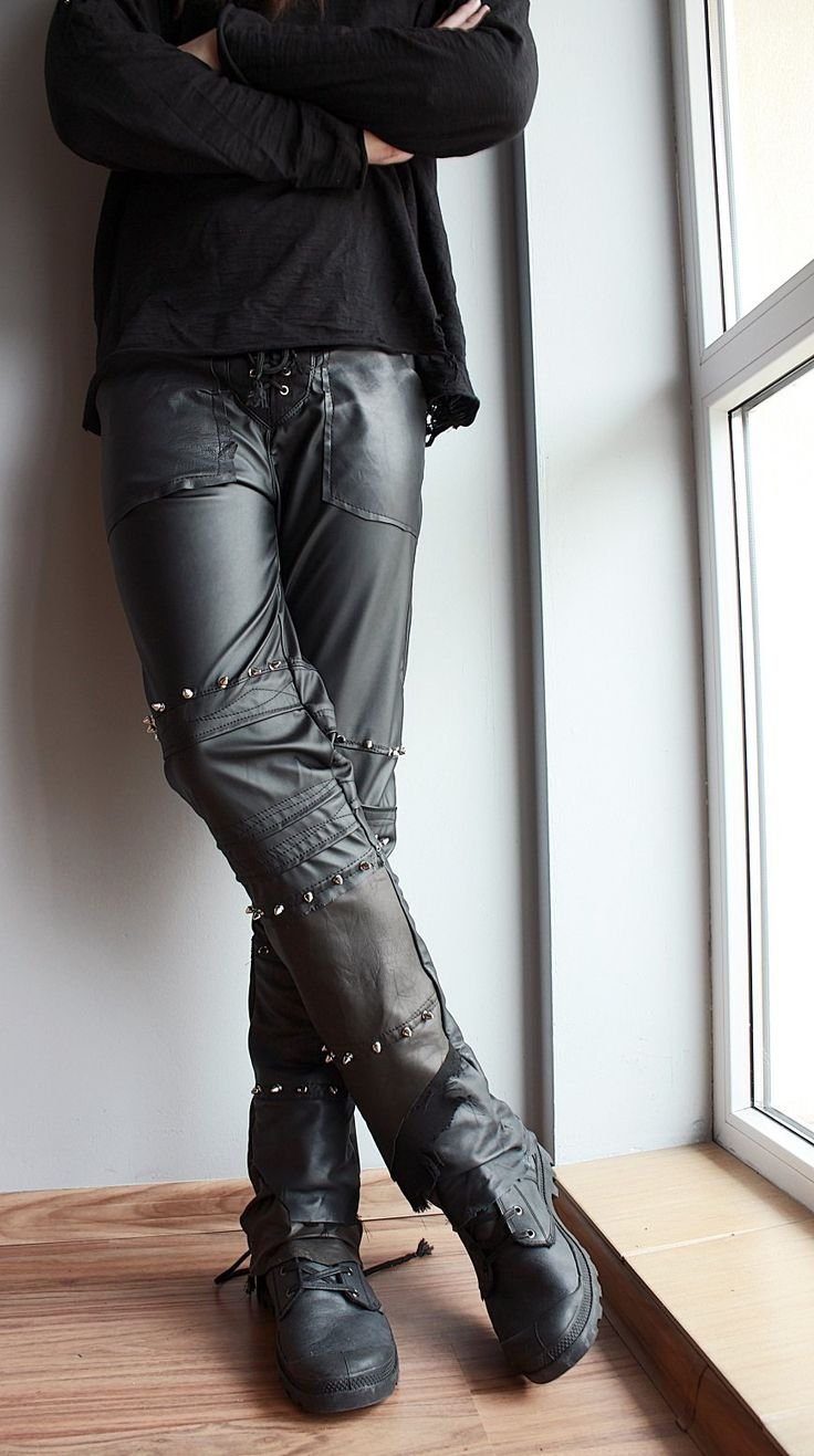 Men pants made of stretchy eco leather and genuine leather.Ripped and studded.Lacing on back legs.--> STRICTLY LIMITED TO A SINGLE PIECE!!! <--Fully handcrafted and one of a kind....