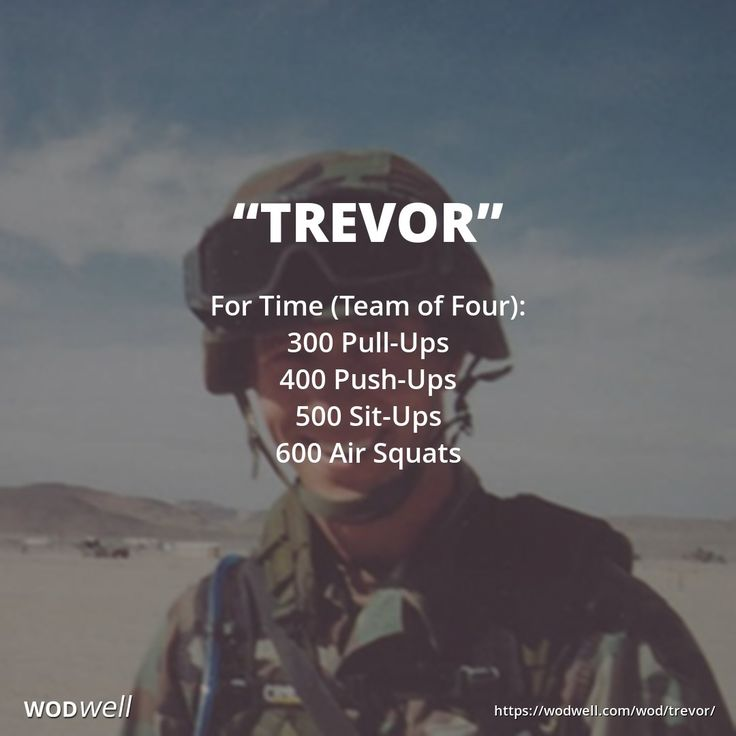 """Who would do this with you? Tag your friends! Only two people may work at a time. Reps are cumulative for the team. Click the link below to watch an old school CrossFit video showing a team complete the WOD in 24:38. This hero workout, created in 2007 by @CrossFit Orange County, was named for Trevor Win'E, who was killed in Iraq on April 30, 2004. ----- """"TREVOR"""" (https://wodwell.com/wod/trevor/) For Time (Team of Four) 300 Pull-Ups 400 Push-Ups 500 Sit-Ups 600 Air Squats"""