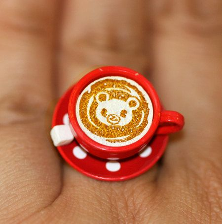 Kawaii Cute Japanese Ring  Cup of Coffee with by fingerfooddelight, $12.00