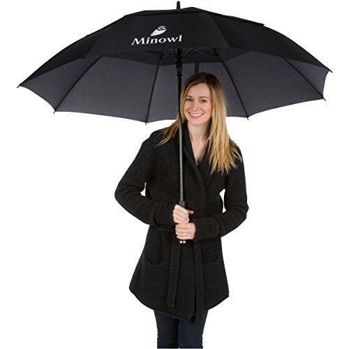 Minowl Oversize Golf Umbrella 62 Inch Large Windproof Waterproof Auto Open Black >>> undefined #Umbrellas