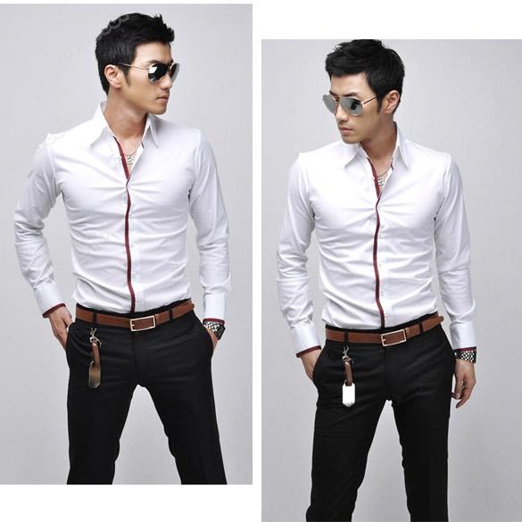 2012 New Korean Men's Fashion Stylish Casual shirts Slim Fit Long Sleeve Shirt | eBay