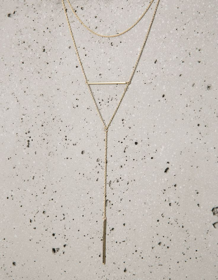 Set 2 collares dorados - Collares - Bershka Ecuador
