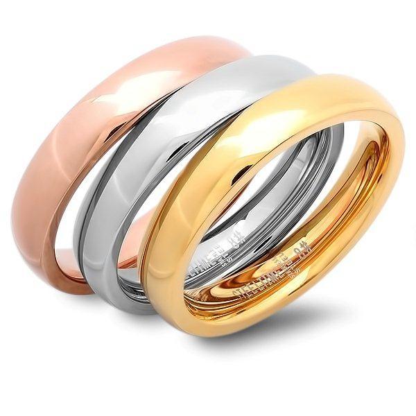Cabachon Stacking Ring Set - 18K Yellow & Rose Gold Plating - Save 82% Just $12
