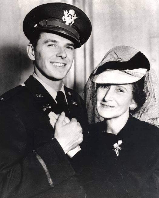 Lieutenant Ronald Reagan posing with his mother Nelle 1940s