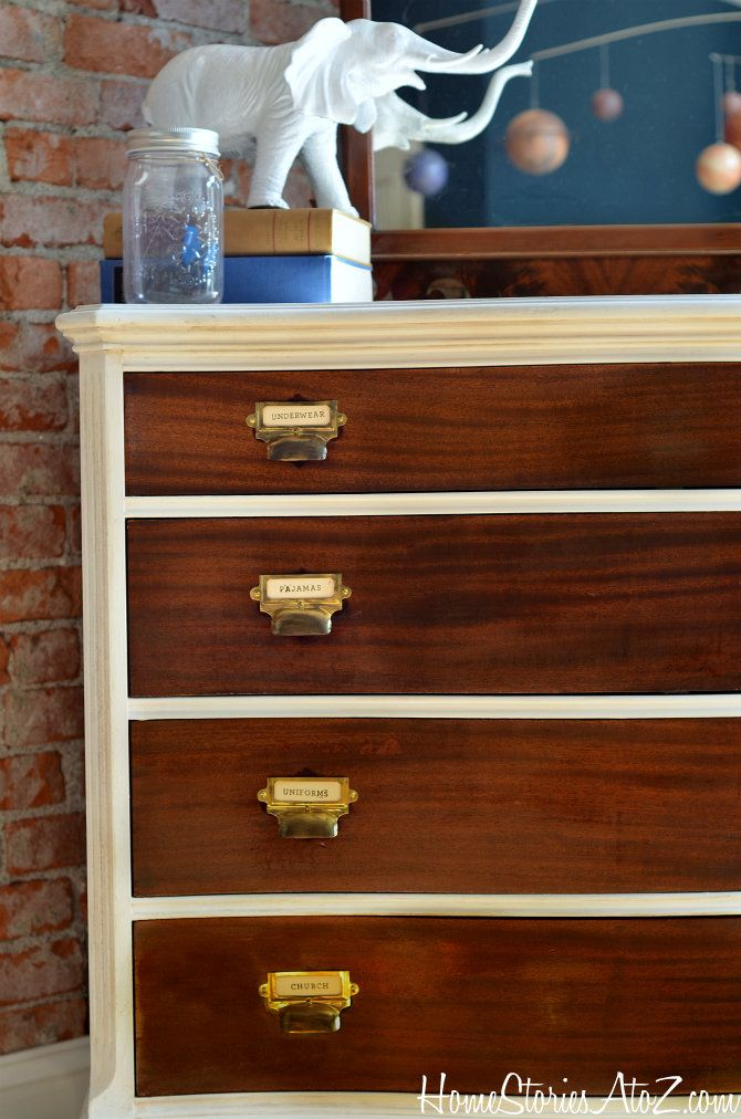 How to create a two-toned dresser with card catalog pulls.