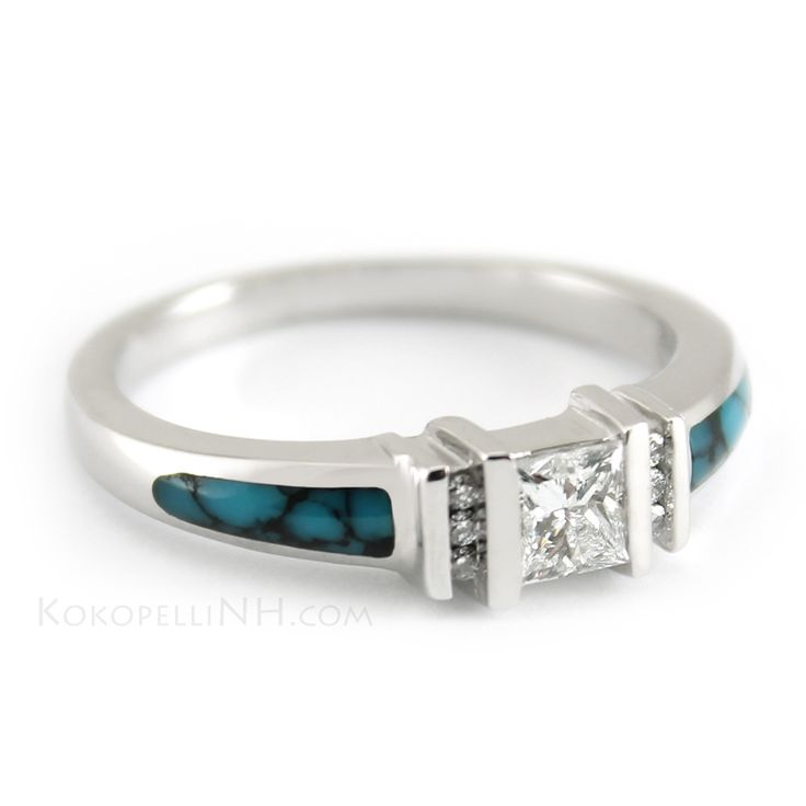 """Stormy Sky - Mirage""  This unique engagement ring features hand-inlaid Matrix Turquoise and a glittering Princess Cut Diamond surrounded by six smaller diamonds."