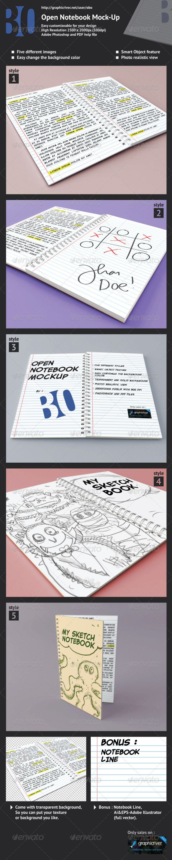 Open Notebook Mock-up  #GraphicRiver        Open Notebook Mock-Up With this mockup you can add your design and customize it with few simple step. Made this mock-up as a showcase to show your design more interactive. Let's make your work look good and professional. 	 Feature :   Five different styles  Photoshop (layered) and PDF Help (how to use)  Photo Realistic Mock-up with 2500×2000 pixels (300 dpi)  Smart Object  Transparent and Solid Background  Bonus file : Notebook Line-based on vector…
