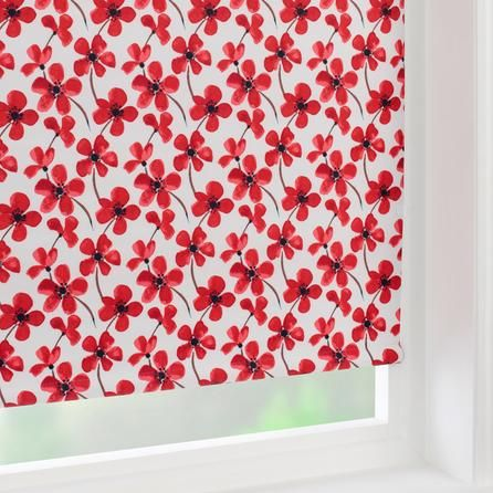 Red Painted Poppy Collection Blackout Roller Blind | Dunelm