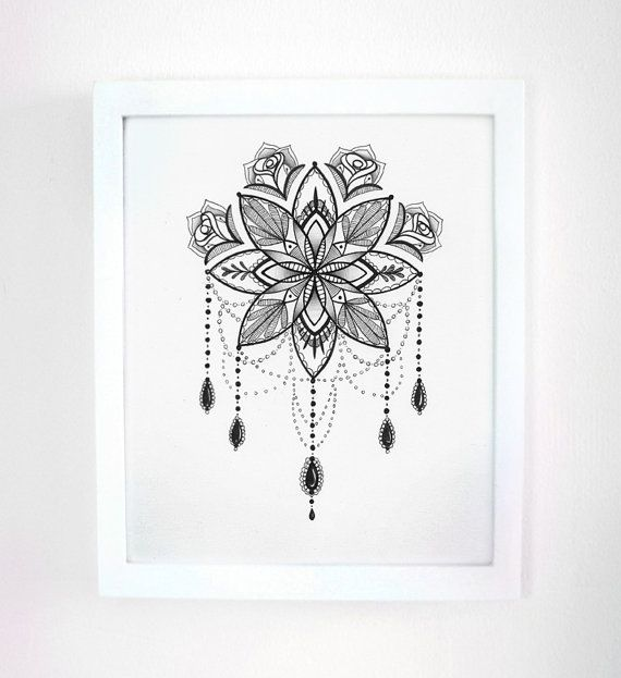 Ink Drawing Mandala Ornate Illustration 8x10 by RobinElizabethArt, $95.00