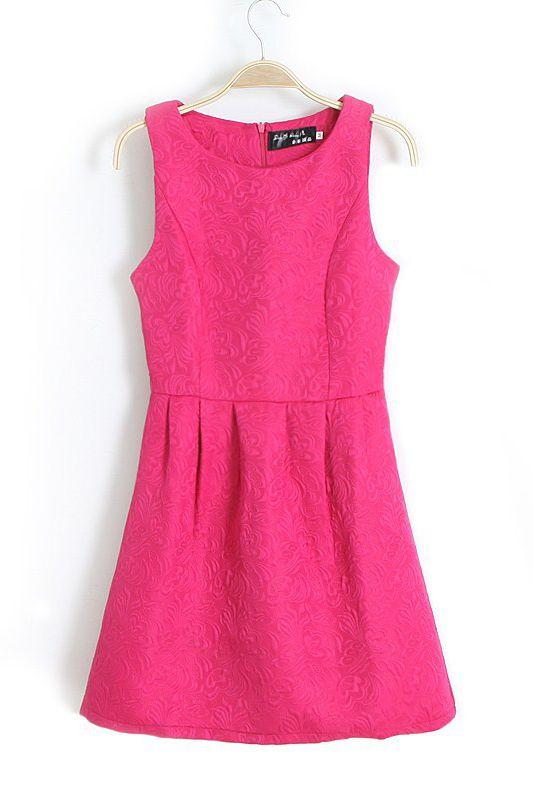 Rose-carmine Ruching Sleeveless Dress