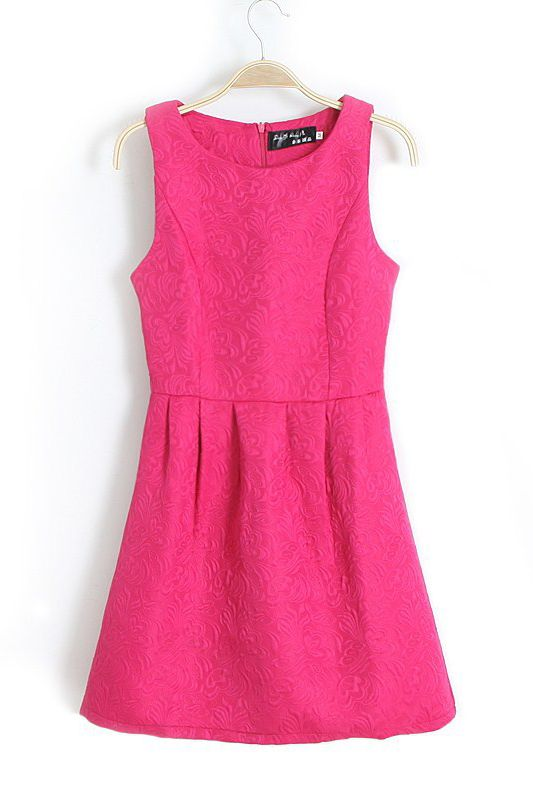 Rose-carmine Ruching Sleeveless Dress