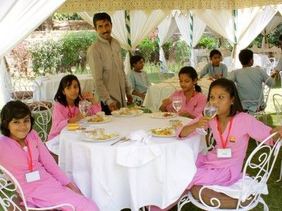 Welcome guests at Samode Bagh, Rajasthan India