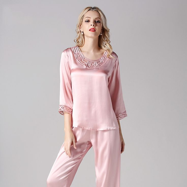 Women's Silk Pajama Set Silk Loungewear Short Sleeve Embroidery Lace T7701