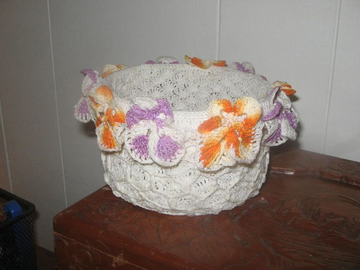 Hand Made Crochet Bowl And Flowers, Starched