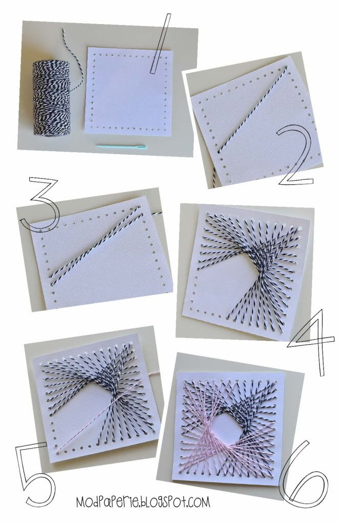 string art how to with square punched on perimeter-two color for overlay.