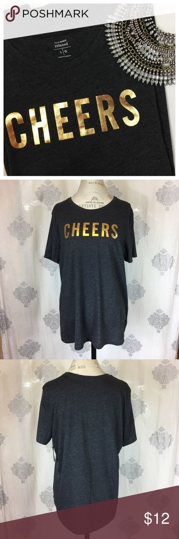 Graphic Tee Relaxed fit, super soft tee. Slightly sheer, dark heather gray with gold metallic script. New with tags, never worn. Offers welcome using the Offer button. No trades. Old Navy Tops Tees - Short Sleeve