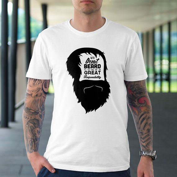 Great Beard Design Cotton Shirt by TheRizzofiedStudio for all those who know that with Great Beard Comes Great Responsibility CLICK now to buy from only $20.00 Or visit www.TheRizzofiedStudio.etsy.com to view all products #GreatBeard #etsy #tshirt
