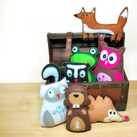 7 Bosco foresta Softie cucire modelli - fai da te gufo Fox rana Skunk peluches di castoro Hedgehog - facile